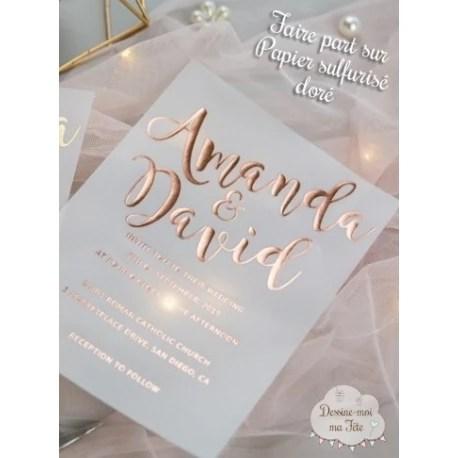 faire part de mariage papier calque papier transparent dore minimaliste
