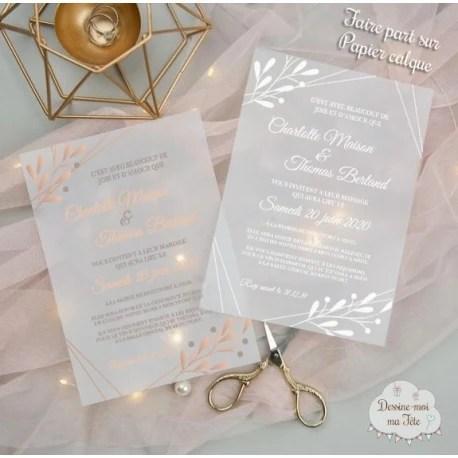 faire part de mariage papier calque papier transparent branches