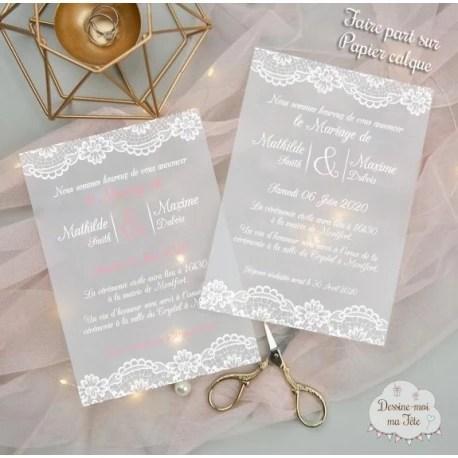 faire part de mariage papier calque papier transparent dentelle