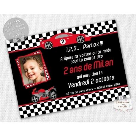 course de voiture carte d invitation anniversaire