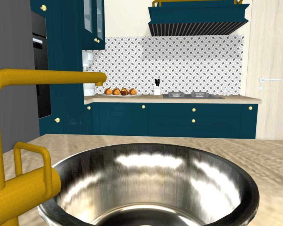 cuisine classique bleu canard projet 3d