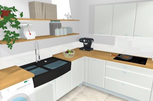 cuisine blanche satinée et bois