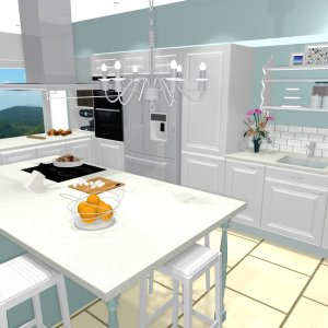 projet cuisine 3d shabby chic