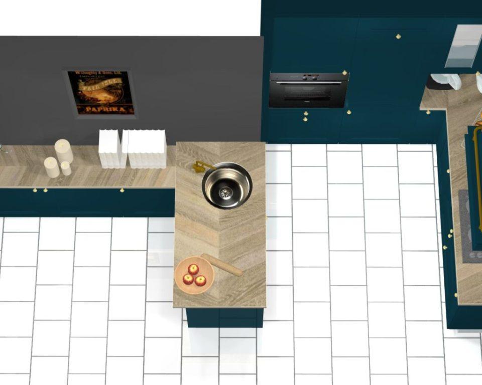 cuisine classique bleu canard projet 3d vue dessus