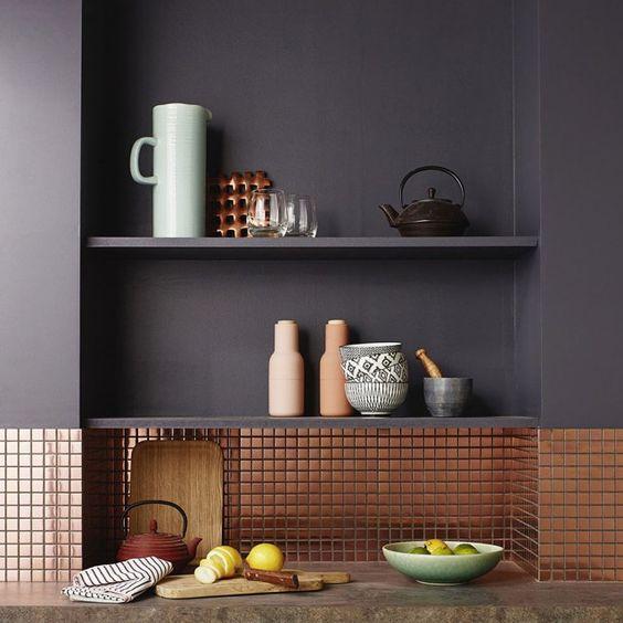 crédence de cuisine mosaïque finition cuivre
