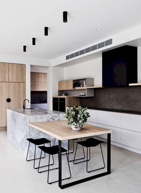 cuisine contemporaine ouverte ilot avec espace repas