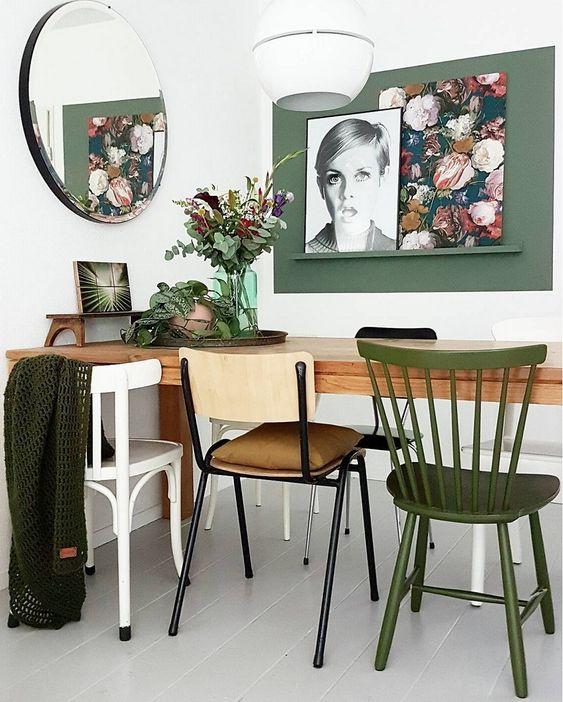 salle à manger chaises dépareillées style scandinave