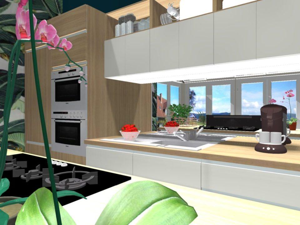 cuisine style tropical dans une véranda projet 3d