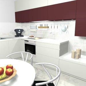 cuisine blanche contemporaine projet 3d