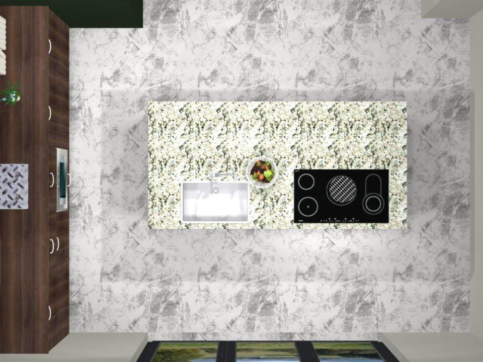 cuisine sur un îlot projet 3d vue dessus
