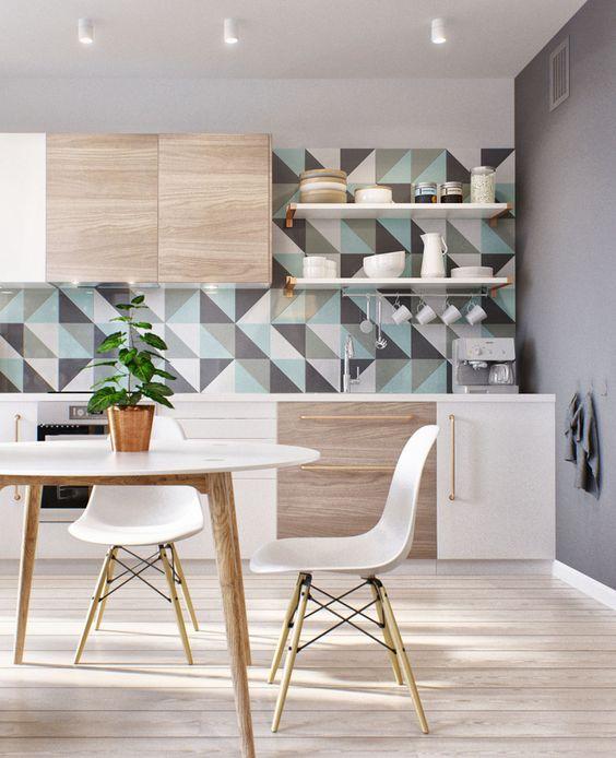 cuisine aux influences scandinaves papier peint géométrique