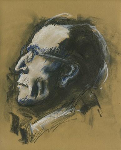 Fusain et pastel sur papier recyclé - Mahler (inspiré par E Pignon-Ernest