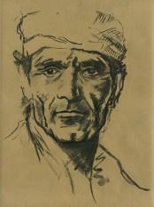 Fusain sur papier recyclé d'apres un portrait de Pier Paolo Pasolini de E. Pignon Ernest