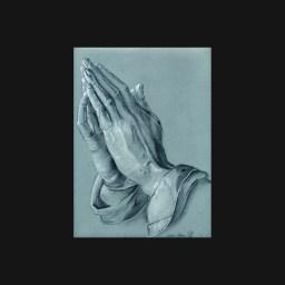dessins à la pierre noire et rehaut de craie blanche - mains priant