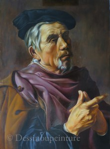 portrait peint d'un vieillard, copie