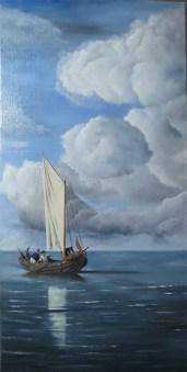 peinture à l'huile, Barque à voile sur mer calme