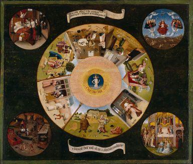 Les Sept Péchés capitaux attribué à l'entourage de Jérôme Bosch photo Wikipedia