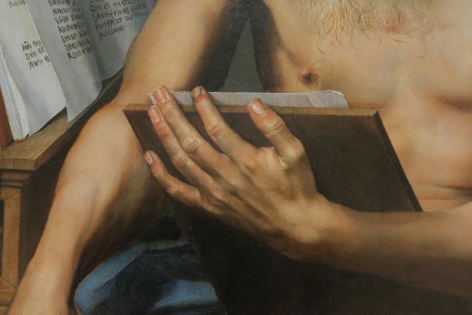 zoom sur la main d'un homme, peinture flamande