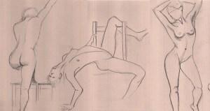 dessin, croquis, modele vivant, pose courte