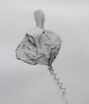 Chaise et fil de fer. technique mixte, dessin au graphite et fil de fer