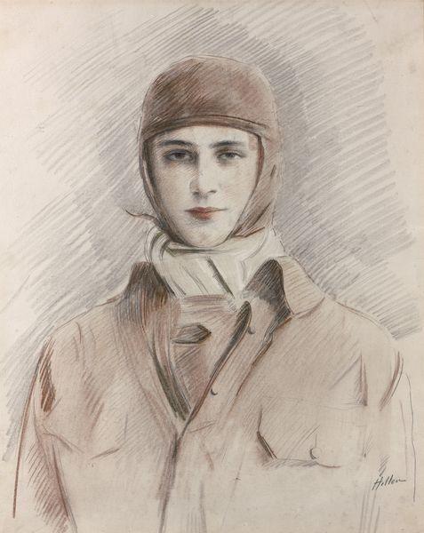 dessin aux trois crayons, l'aviatrice