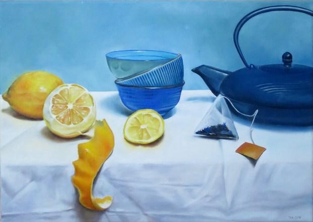 Thé au citron, peinture sur toile