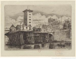 vue ancienne de la Pompe installée à Paris sur la seine