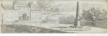tirés d'un carnet de voyage de 99 dessins au crayon, plume, encre et lavis ; 12,5 x 37 cm