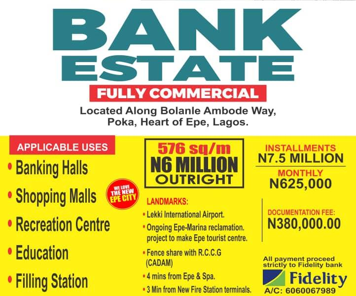 Commercial plot of Land for sale in Bank Estate Epe, Lagos