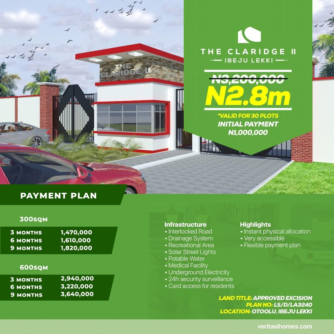 The Claridge Estate Phase 2, Ibeju Lekki  Investment Deal