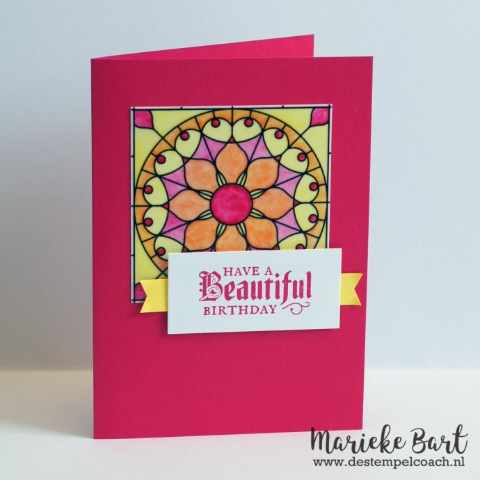 Painted Glass Stamp Set and Graceful Vellum colored with Stampin' Blends