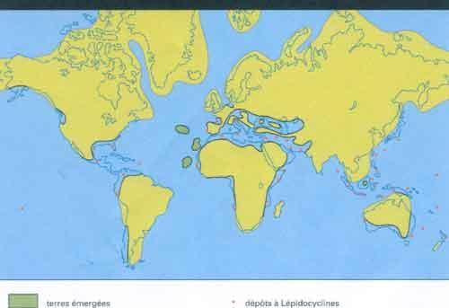Les continents au miocène.