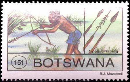 Pêche à l'arc au Botswana.