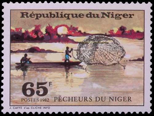 Pêche à l'épervier au Niger.