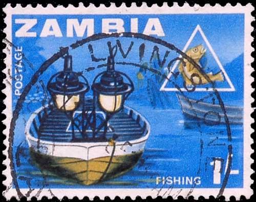 Pêche au lamparo, timbre de Zambie.