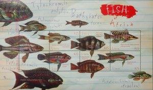 Timbres (planche) de cichlidés du lac Tanganyika (éd. Libéria)