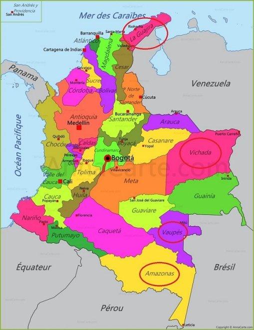 Une carte des départements de la Colombie mettant en avant les principaux groupes de population indigène du pays.
