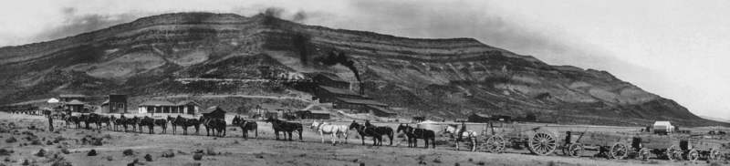 Long Team in front of the Bonnie Claire Mine, Nevada