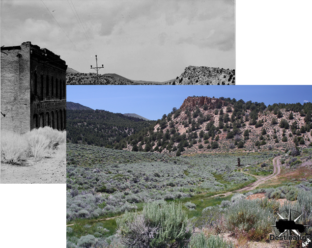 Photographic landscape comparison between our trip and a historical photograph.  The angles are slightly different but clearly the hillside line up.