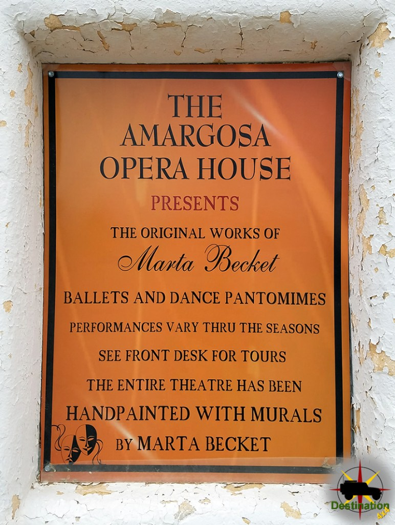The Amargosa Opera House features original hand painted murals by Marta Becket.