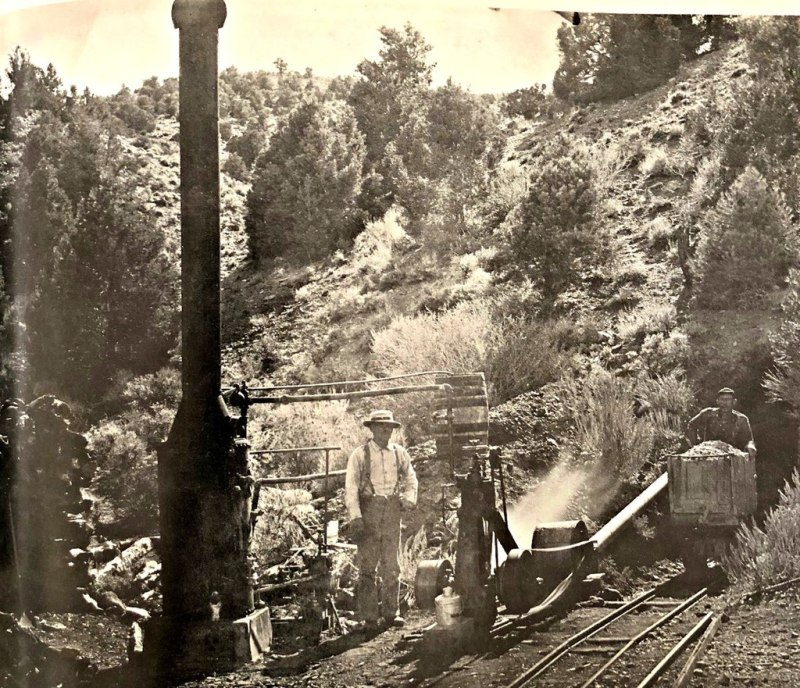 Steam boiler, Pine Grove, Nevada, 1880s. The steam from the boiler supplied a small engine which powered a ventilation fan.