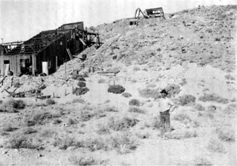 Cashier Mill ruin and Pete Aguereberry, 1916. From Dane Coolidge Collection,