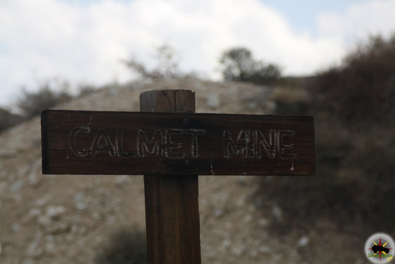 A sign clearly marks the Calmet Mine