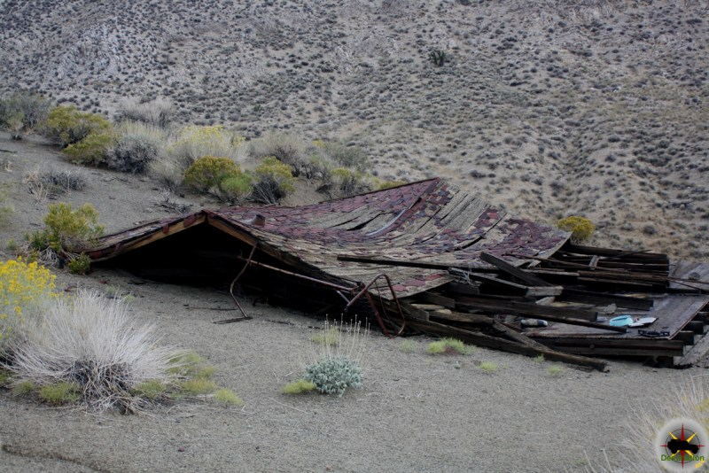 A completely flattened structure at Goldbelt Springs, Death Valley, California