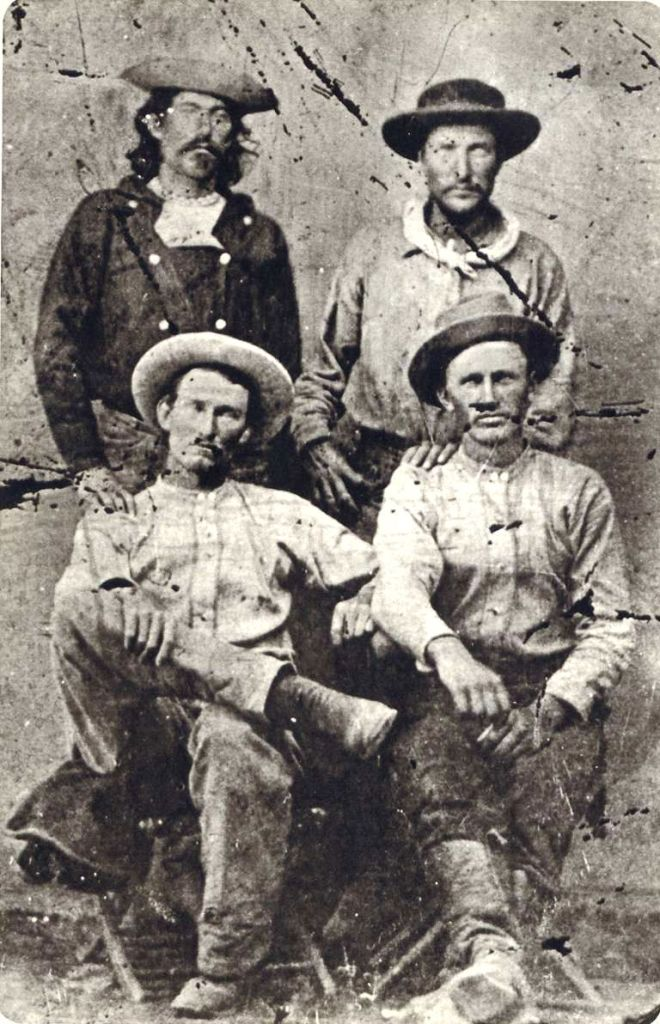 """Pony Express Riders """"Billy"""" Richardson, Johnny Fry, Charles Cliff, Gus Cliff - Ernest and Elaine Hartnagle (original tintype from the Martin E. Ismert Collection - Kansas City, Missouri) - http://www.historybuff.com/library/refrichardson.html"""