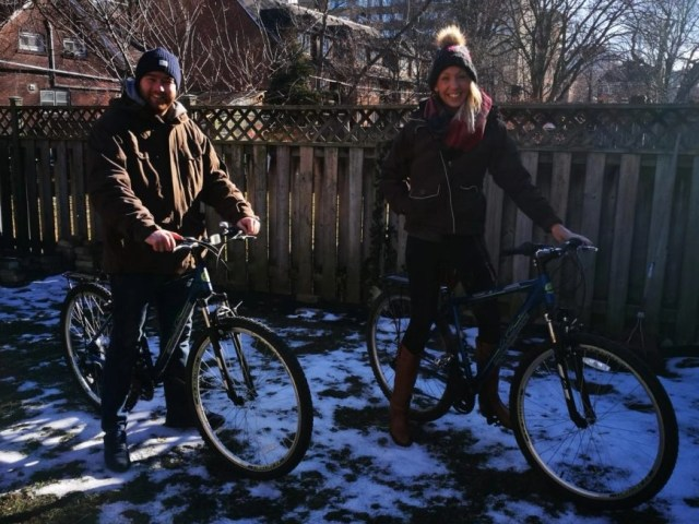 All wrapped up on our newly purchased bikes - Taking used bicycles from Canada to Cuba