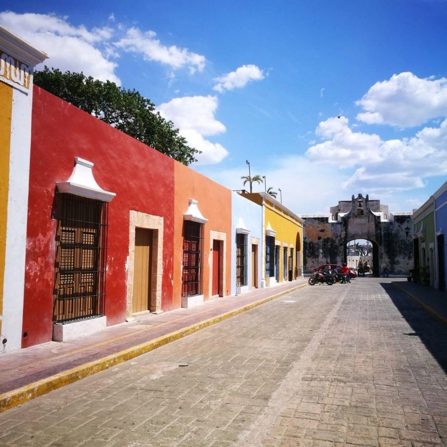 Rainbow coloured buildings in the UNESCO city of Campeche, Mexico