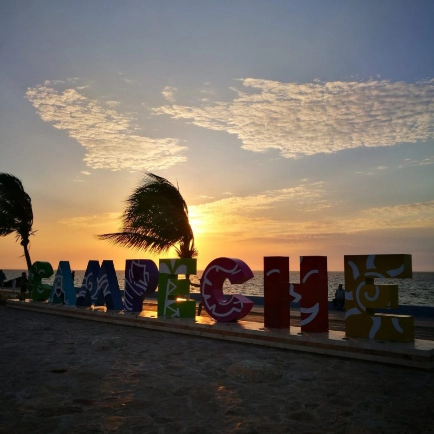 Destination Addict - The colourful city sign of Campeche, Mexico