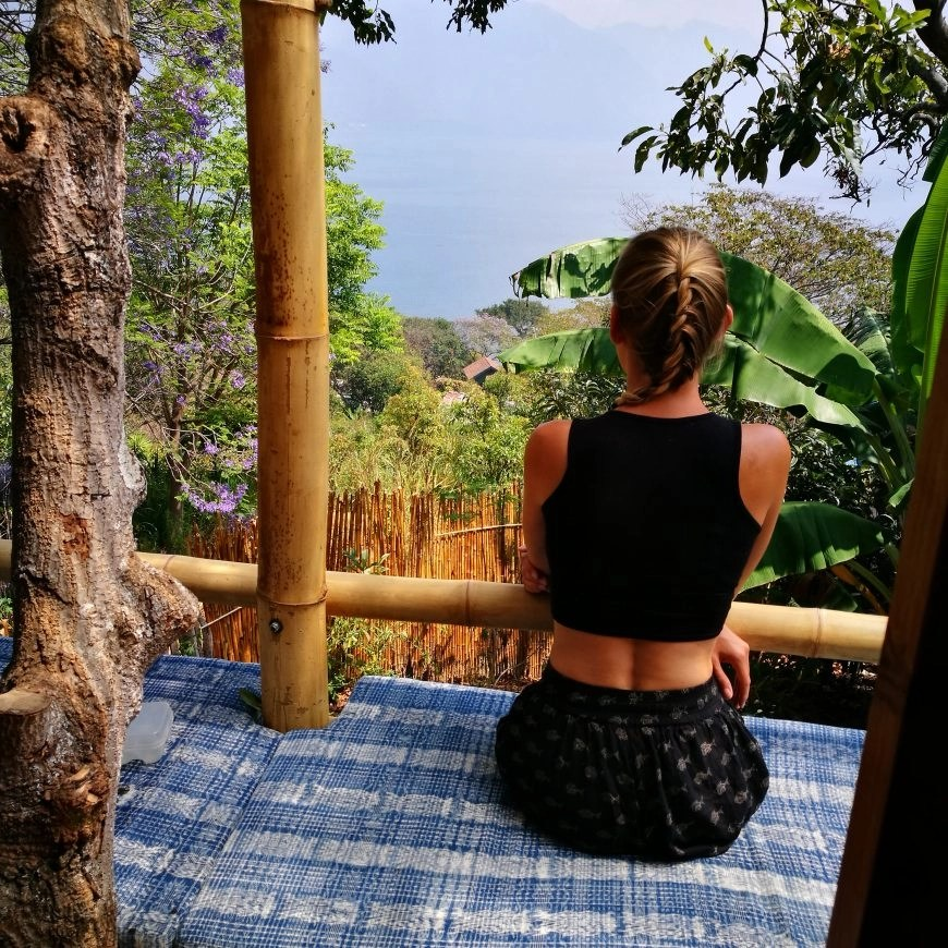 Destination Addict - Enjoying views of the lake from the tree house balcony, Lake Atitlan, Guatemala