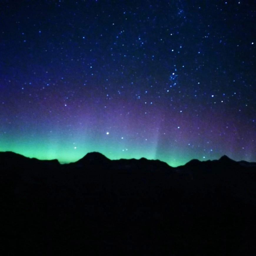 The northern lights dancing in the sky, Russet Lake, near Whistler, British Columbia, Canada
